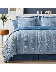 Bedsure King Comforter Set 8 Piece Bed in A Bag Stripes Seersucker Soft Lightweight Down Alternative Bedding Set