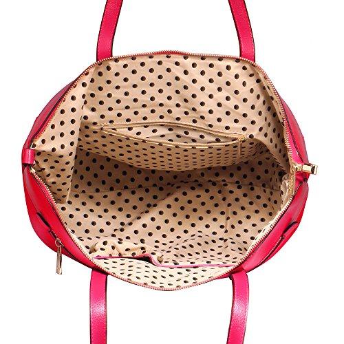 ANNA GRACE - Bolso de asas de piel sintética para mujer Design 1 - Fuchsia