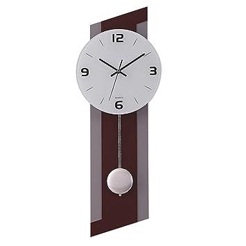 Simple Decoración Reloj de péndulo Reloj de pared Reloj de cuarzo Decoración Reloj de pared Dormitorio Silenciar Mesa colgante Manualidades: Amazon.es: ...