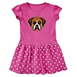 inktastic – Boxer Dog Puppy Toddler Dress 4T Raspberry with Polka Dots 3139d
