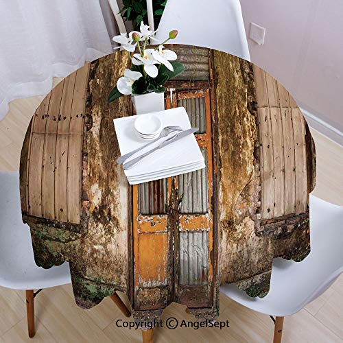 AngelSept Round Tablecloth,Damaged Shabby House with Boarded Up Rusty Doors and Mold Windows Home Decor,35