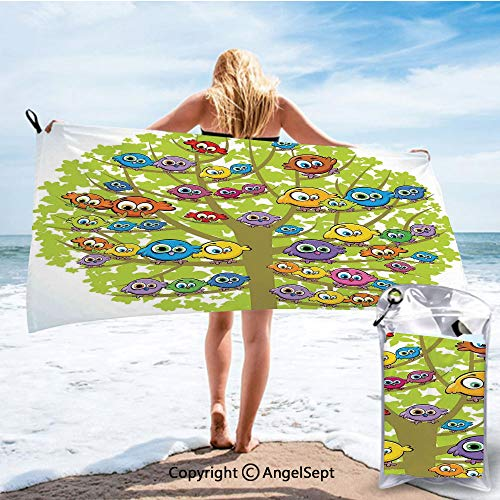 Fashion Ultra Soft Compact Quick Dry Towels,Cartoon Group of Fun Colorful Canary Bird Family on Oak Branches Animal Illustration Multicolor,27.5