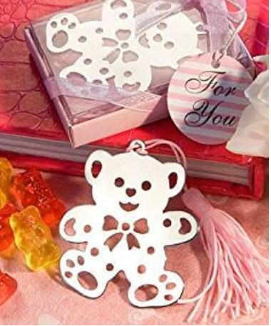 Book Lovers Collection Metal Pink Teddy Bear Bookmark Favors (12)