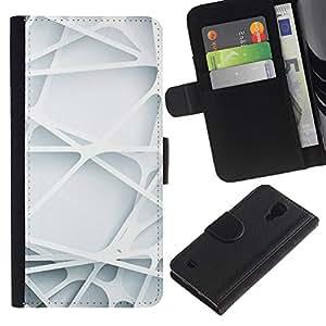 LASTONE PHONE CASE / Lujo Billetera de Cuero Caso del tirón Titular de la tarjeta Flip Carcasa Funda para Samsung Galaxy S4 IV I9500 / 3d art lines web plastic white clean