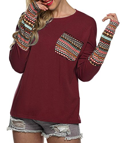 Women's Long Sleeve O-Neck Patchwork Blouse Tops (M, Wine Red)