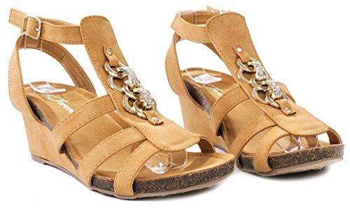 Yoli-41 Gold Chain Rhinestone Strappy Gladiador Hebilla Correa De Tobillo Vestido De Cuña De Corcho Sandalias Tan
