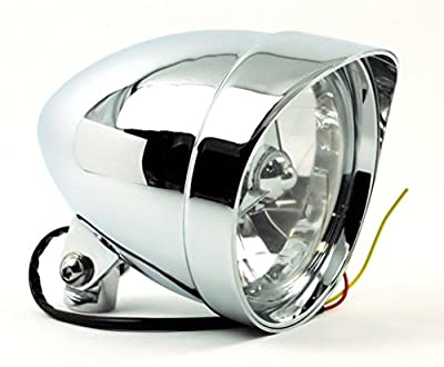 "ACCESSORIESHD - CLASSIC COBRA W/VISOR Chrome Billet Headlight 5.75"" x 7"" Harley Chopper Bobber Custom"