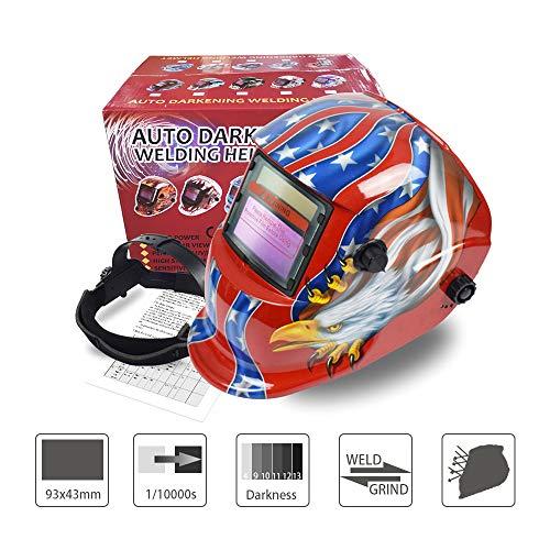 Solar Powered Auto Darkening Hood Welding Helmet Welder Mask Adjustable Shade Range 4/9-13 Cool Armor Design Style ()