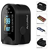 #4: AccuMed® CMS-50D Pulse Oximeter Finger Pulse Blood Oxygen SpO2 Monitor w/ Carrying case, Lanyard Silicon Case & Battery (Black)