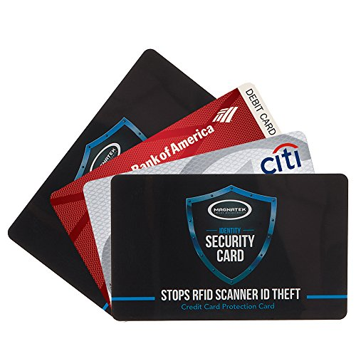 RFID Credit Card Protectors -  Protect Your Wallet/Purse At All Times - Magnatek Single Card STOPS Identity Theft-Pack Includes 2 Credit Card Protectors Plus 2 BONUS Passport ID Protectors.