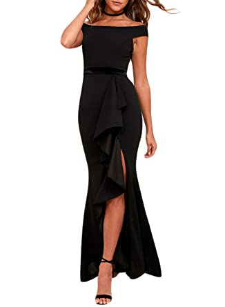 e96c614b456 FIYOTE Women Off The Shoulder High Low Hem Ruched High Slit Evening Party  Cocktail Dress Small