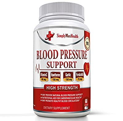 #1 BEST Blood Pressure Support Supplement to Lower Blood Pressure - Reduce Stress - Aid Circulation - Natural Herb & Vitamin Formula with Hawthorne, Juniper & Forslean - 100% Satisfaction Guarantee