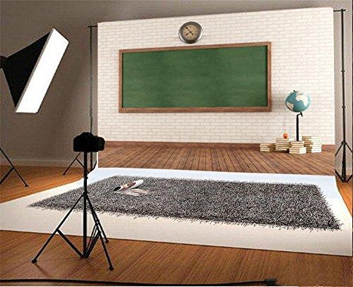 Laeacco 10x6.5ft Vinyl Backdrop Photography Background Empty Vintage Classroom Green Blackboard Against Brick Wall School Tools Globe a Stack of Books Chalkboard Stripe Wood Floor Backdrop ()