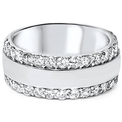 2 3/4ct Diamond Double Row 8mm Wide Wedding Band 14K White Gold - Size 7 ()
