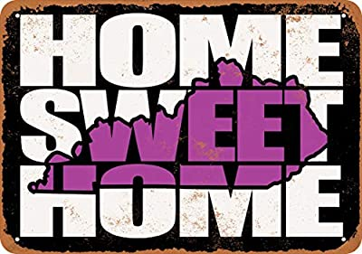 Wall-Color 7 x 10 Metal Sign - Home Sweet Home Kentucky Black Purple - Vintage Look