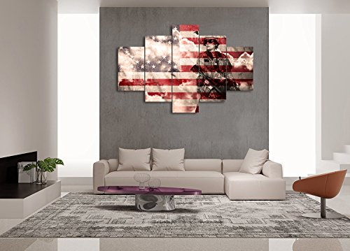 Wooden Military Canvas Armed Troops Forces on USA Flag Painting 5 PCS Retro American Flag Print Art Home Decor Wall Art Pictures for Living Room Morden Poster Framed Hook Ready to Hang(60''W x 40''H)