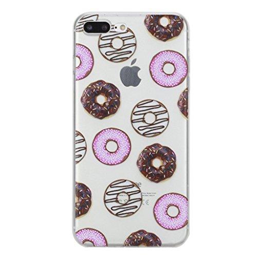 """iPhone 7 Plus Hülle, IJIA Ultradünne Transparente Vollbild Donuts TPU Weich Silikon Stoßkasten Handyhülle Schutzhülle Handyhüllen Schale Case Tasche für Apple iPhone 7 Plus (5.5"""") + 24K Gold Aufkleber"""