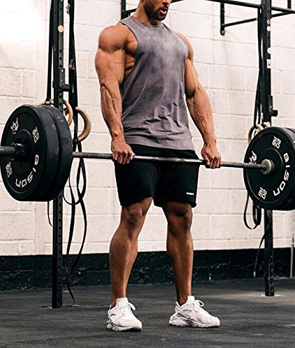 990fe5c2f20 Ouber Men s Fitted Workout Shorts Gym Bodybuilding Joggers Short with Zipper  Pockets