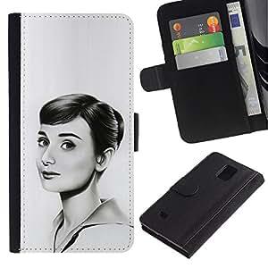 LECELL--Cuero de la tarjeta la carpeta del tirón Smartphone Slots Protección Holder For Samsung Galaxy Note 4 IV -- HEPBURN DIBUJO HERMOSA --