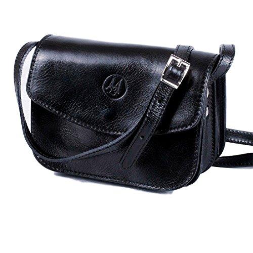 MICHELANGELO Piel genuina, piel de becerro, hecha a mano, Italia - Bolso Vintage pequeño, en Cuero 19x8 H15 cm (Blue) Negro