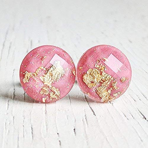 Pink with Gold-Flakes Earrings - Hypoallergenic - Titanium