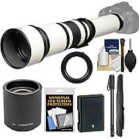 Vivitar 650-1300mm f/8-16 Telephoto Lens (White) (T Mount) with 2x Teleconverter (=2600mm) + EN-EL14 Battery + Monopod + Kit for D3300, D3400, D5300, D5500, D5600