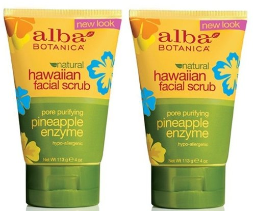 Alba Botanica Pore Purifying Pineapple Enzyme Hawaiian Facial Scrub, 4 Ounce Tubes (Pack of 2) by Alba Botanica
