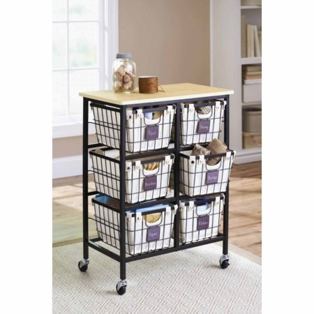 6-Drawer Wire Cart, Black Has Wheels For Conveniently Moving it Around And Durable Square Tube Metal - Has Wheels
