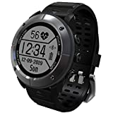 feeleye Smartwatch Outdoor GPS Tracker, Band Activity Fitness Running,IP68 waterproof,Heart rate monitor,Multi-sport Mode,Compass,Pedometer for IOS iPhone,Android - iron gray