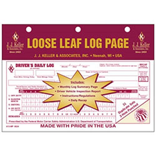 J.J. Keller - Duplicate Loose Leaf Driver's Daily Log Sheets with DVIR, Pack=10