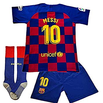 Brosin Barcelona niño Camiseta Jersey Futbol, No.10 Messi Traje de Niño Camiseta pantalón Calcetín