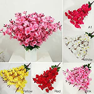 1 Bunch Artificial Peach Blossom Silk Flower Decorative Simulation Flowers 78