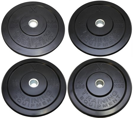 Premium Black Bumper Plate Solid Rubber with Steel Insert - Great for Crossfit Workouts (230lb Set (2x10lb, 2x25lb, 2x35lb, 2x45lb))