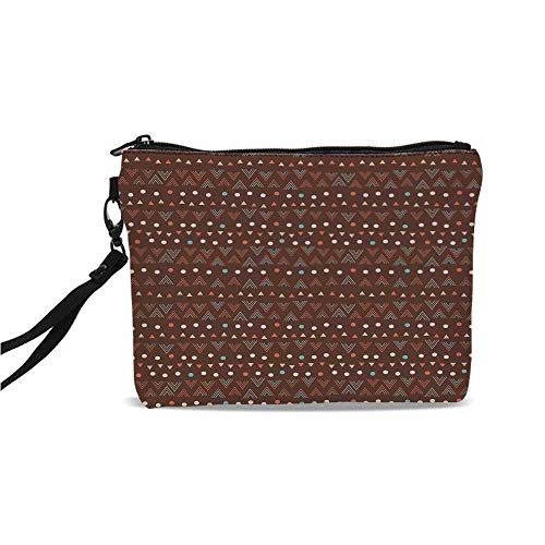 (Tribal Simple Cosmetic Bag,Ethnic Image with Wave Like Zig Zag Borders and Polka Dots Abstract Backdrop Artwork for Women,9