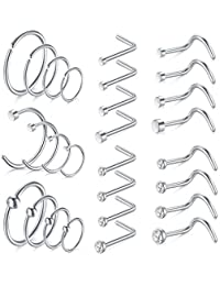 18G Nose Rings Hoop Surgical Steel Nose Rings Studs Screw L-Shaped Nose Stud Tragus Cartilage Helix Earrings Hoop 28pcs Nose Piercing Jewelry Set