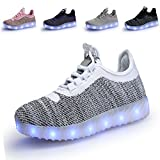 SIKELO Boys Girls 22 Colors LED Light up Running Shoes for Kids USB Flashing Sneakers