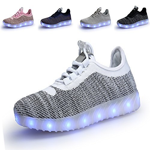 Price comparison product image SIKELO Boys Girls 22 Colors LED Light up Running Shoes for Kids USB Flashing Sneakers