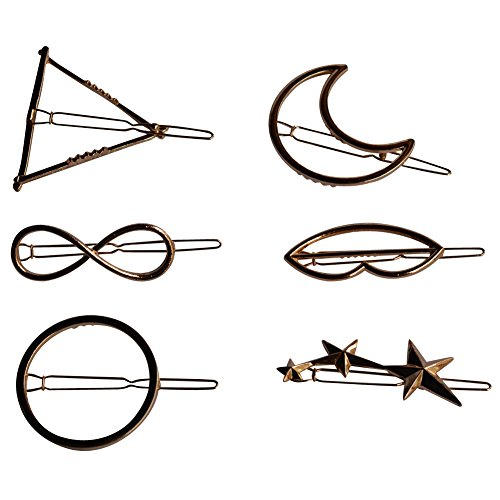 (Bzybel Bobby Pins Hair Clips Vintage Triangle Circle Star Moon Lips Number eight Shapes Hairpins Hair Styling Accessories Wedding Prom Party Hairpin for Women Girls, Gold,Pack of Six)