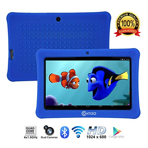 """[Upgraded] Contixo K1 HD 7"""" Kids Tablet with Durable Protection Case, Pre-Installed Games Android 6.0 Bluetooth WiFi Dual Cameras Parental Control for Children Dark Blue"""