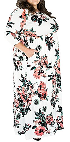 Alaroo Plus Size Empire Waist 3/4 Sleeve Maxi Dress with Pocket XL-4XL