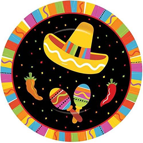 """Amscan 549820 Fiesta Fun Round Plates, 7"""", Multi Color"""