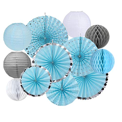 12PCS Blue Grey Elephant Baby Boy Shower Decoration Supplies Silver Plated Hanging Paper Fan Tissue Paper Honeycomb Balls Paper Lanterns for Themed Party 1st Birthday Wedding Decoration