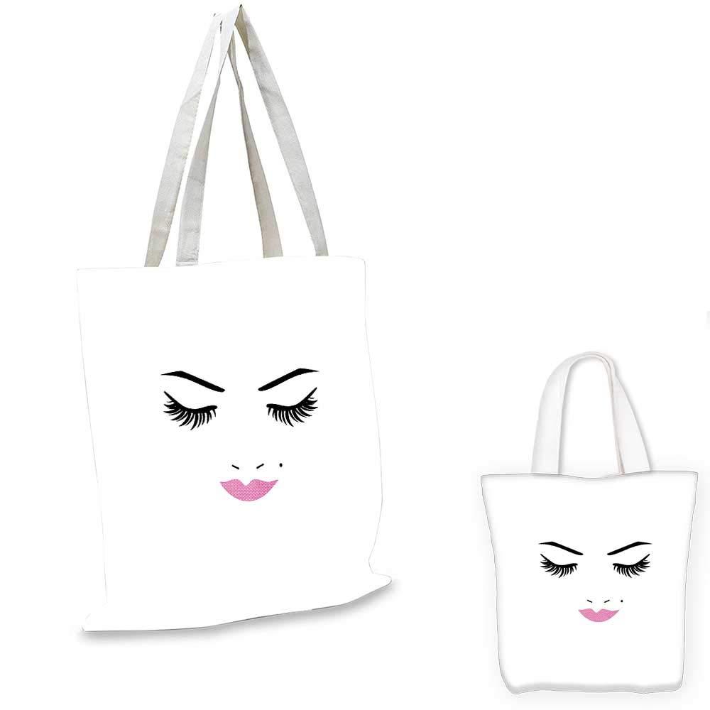 7adb9f00032f Amazon.com: Eyelash canvas laptop bag Closed Eyes Pink Lipstick ...