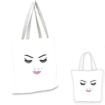 f9cb46213190 Amazon.com: Eyelash canvas laptop bag Closed Eyes Pink Lipstick ...