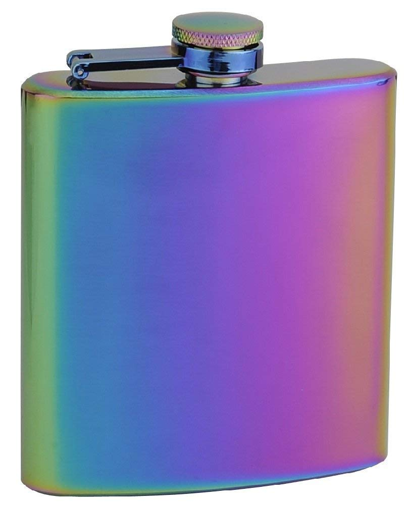Gifts Infinity Stainless Steel 1oz Black Key Chain Hip Flask Assorted Colors, 1oz Black