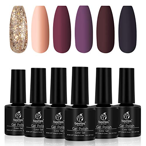 Beetles Fall Gold Glitter Gel Nail Polish Set - 6 Colors Red Purple Gel Polish Kit Full Maroon Nail Gel Polish Set, Soak Off UV LED Nail Gel Required, 7.3ml Each Bottle Gel Nail Art Gifts Box