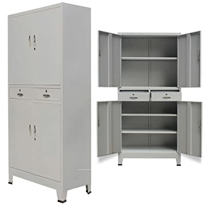 Amazon Festnight Tall Office Steel Cabinet With 4 Doors Gray