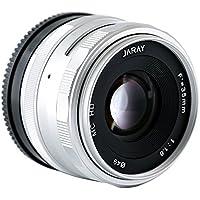 JARAY Fashion Silver Sharp 35mm F/1.6 Manual focus Lens M4/3 micro four thirds for Panasonic Olympus Mirrorless