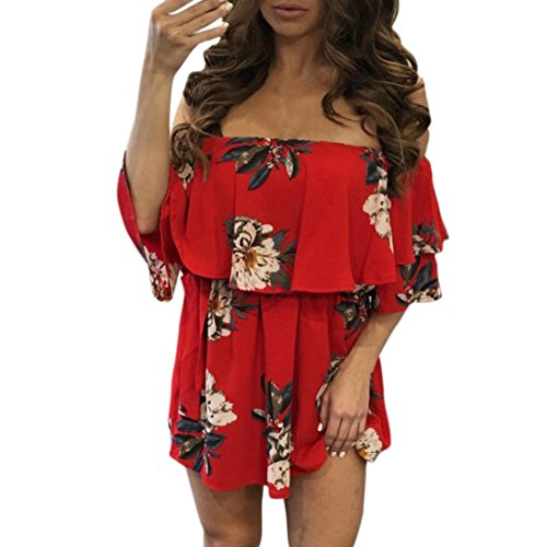 Kimloog Women Floral Print Summer Short Sleeve Off Shoulder Defined Waist Casual Mini Dress (L, Red)