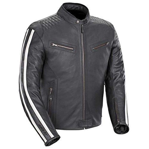 Joe Rocket Vintage Rocket Men's Leather Motorcycle Jacket (Black/White, X-Large) (Best Leather Sportbike Jacket)